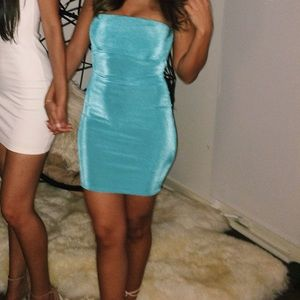 MISSGUIDED Teal Mini Bodycon Tube Dress 💙